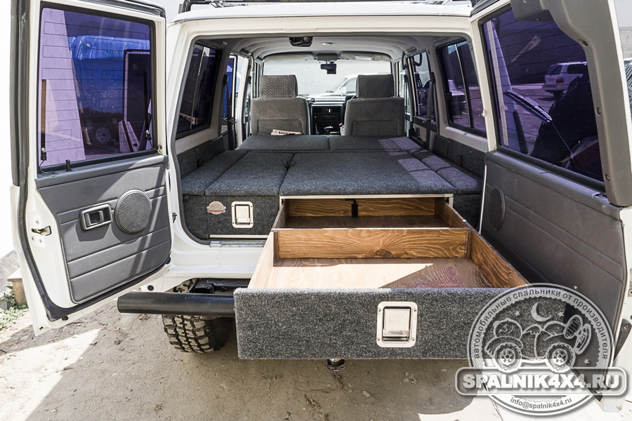 Автоспальник для Nissan Safari / Patrol Y60 с ящиками увеличенного объема и разной ширины + усиленные панели багажного отделения