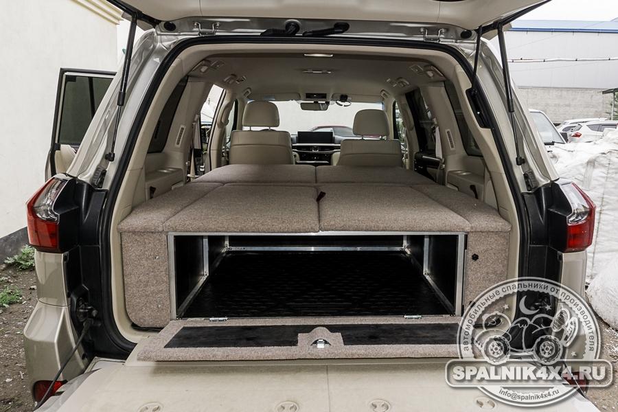 Автомобильный спальник для Lexus LX570 без выдвижных ящиков - с одним отсеком