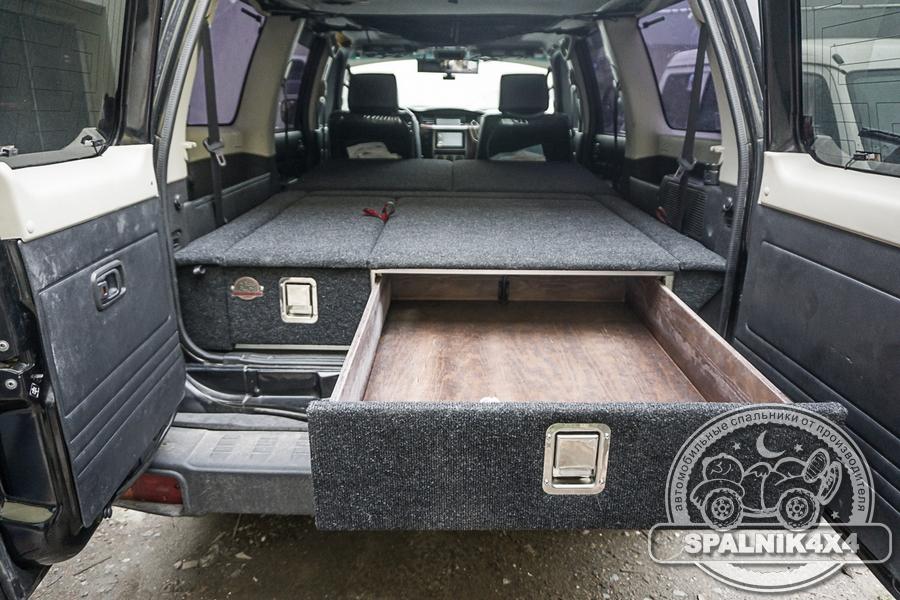 Автомобильный спальник с ящиками увеличенного объема, разной ширины для Ниссан Сафари / Patrol Y61